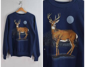 Vintage 1990s Navy Blue Crew Neck Long Sleeve Sweatshirt with Deer and Full Moon | Size: Mens M/Womens L
