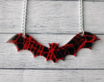 Shrink Plastic Necklace Black and Red Bat Necklace Gothic Necklace Horror Necklace Unusual Necklace Odd Necklace Jewelry Pendant