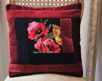 Beautiful Cushion cover, pillow patchwork fabrics velvet, vintage pillow embroidery vintage handmade floral embroidery