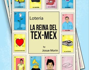 La Reina Del Tex Mex Inspired Loteria Folk Art Bingo