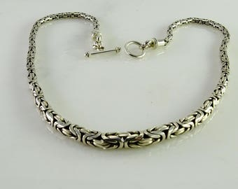 "Graduated Byzantine Necklace 17"" All Sterling"