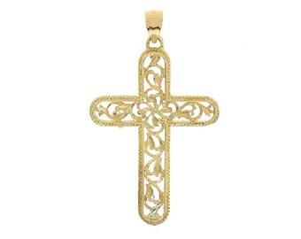 14K Yellow Gold Art Deco Cross Pendant