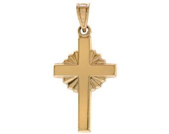 14K Yellow Gold Stamped MA Cross Pendant