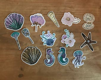 Under the sea mermaid die cuts. Use these vibrant die cuts to decorate a planner, travelers notebook, scrapbook or party. Ephemera