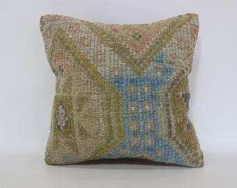 Turkish Kilim Pillow Throw Pillow 16x16 Embroidered Kilim Pillow Multicolor Kilim Pillow Sofa Pillow Faded Pillow SP4040-3058