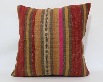 24x24 Decorative Kilim Pillow Sofa Pillow Boho Pillow 24x24 Turkish Kilim Pillow Anatolian Kilim Pillow Multicolor Striped Cover SP6060-1396
