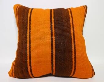 20x20 Orange Brown Striped Kilim Pillow 20x20 Boho Pillow Decorative Kilim Pillow Naturel Kilim Pillow Cushion Cover SP5050-2331