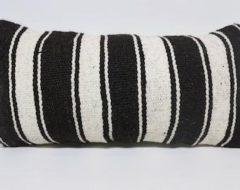 12x24black and white striped kilim pillow home decor cushion cover vintage kilim pilow decorative kilim pillow boho decor  SP3060-1611