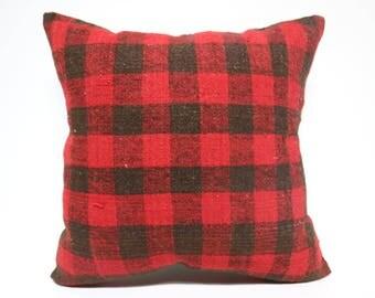 Bohemian Kilim Pillow Sofa Pillow 24x24 Handwoven Kilim Pillow Red And Black Kilim Pillow Throw Pillow Cushion Cover  SP6060-1467