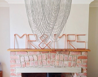 MR & MRS, wall art, copper pipe, signage, wedding, anniversary