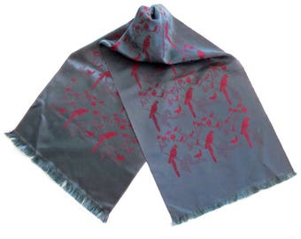 Vintage Silk Damask Wrap Coat Scarf with Macaw Parrot Design