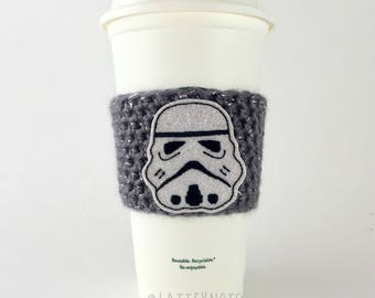 Star Wars Stormtrooper Coffee Cup Cozy /  Storm Trooper Crochet Coffee Sleeve / Reusable Cozie / Customizable