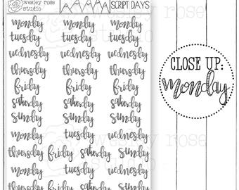 Script Days of the Week Hand Lettered Planner Stickers