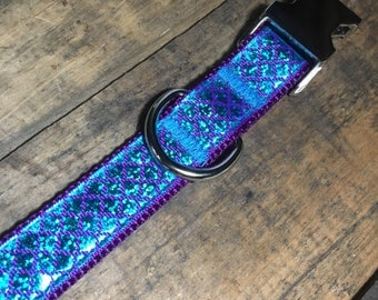 Purple and Blue Mermaid Dog Collar, Sew Fetch Dog Collar