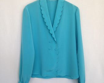 1980s turquoise double breasted blouse by MANNING SILVER...designs, sz 8