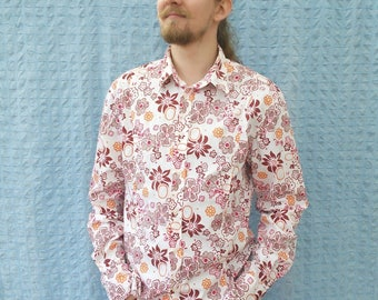 White Vibrant print // burgundy red pink orange // long sleeve // tight // Oxfords shirt // button down // large