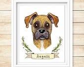 Custom Pet Portrait Watercolor Pet Painting Pet Gift Illustration Animal Portrait Personalized Drawing OOAK Pet Present