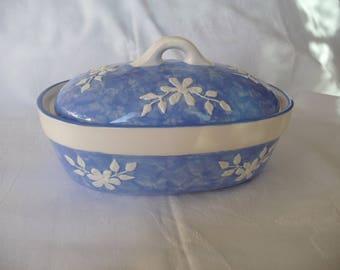Small Blue & White Handpainted Ceramic Table Dish