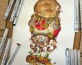 Super Mario : Toad Burger, a Copic markers original illustration.
