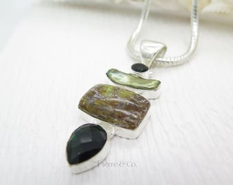 Fresh Water Pearl Jasper and Emerald Quartz Sterling Silver Pendant and Chain
