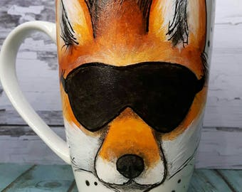 Mug hand painted porcelain Fox