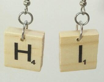 Tile Earrings! - Board Game Earrings, Scrabble Earrings, Scrabble Jewelry, Initial Earrings, Board Game Jewelry, Upcycled