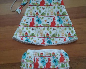 Baby Aussie Animal Crossover Dress with Ruffle Pants & Matching Headband