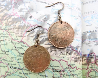 Nepal coin earrings - 2 different designs - made of coins from Nepal - cow - travelgift - Fernweh - Everest