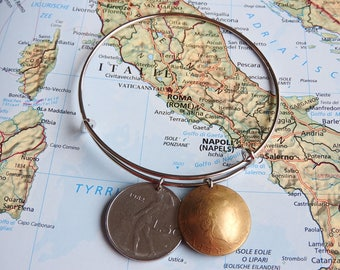 Italy coin bangle bracelet - 2 different designs - made of original hand curved coins - dolphin