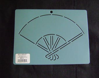 Sashiko Japanese Embroidery Stencil 7 in. Oriental Fan Motif Block/Quilting