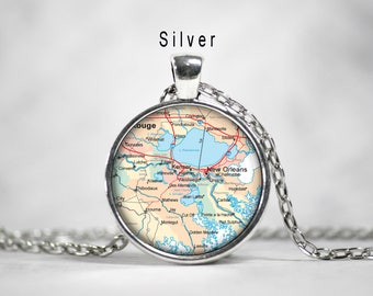 New Orleans, New Orleans Map pendant ,new orleans necklace,Map charm, map necklace, travel jewelry, map pendant