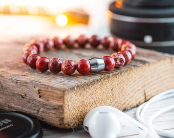 8mm - Red regalite beaded stretchy bracelet with stainless steel end bead, red bracelet, mens bracelet, mens beaded bracelet