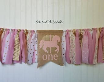Pink, Gold, Carousel Horse, Fabric Banner,Burlap, Birthday, Cake Smash, Highchair, Photo Shoot, Age, Backdrop, Rag Tie