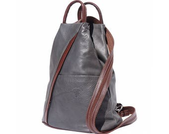 Italian Leather Backpack Shoulder Bag Handcrafted In Florence Italy in Grey & Brown 2061