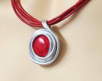 Red Coral Jewelry, Red Coral Pendant, Gemstone Coral Jewelry, Gemstone Coral Necklace, Artisan Jewelry, Artisan Necklace, Gift Jewelry, Red