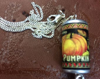Pumpkin can charm necklace cute halloween goth pumpkin pie