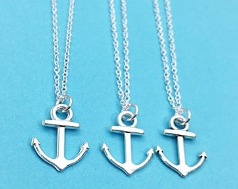 3 Friends Charm Necklace Set of Three, Necklace,Friends Anchor Three BFF Gift,Best Friend Necklaces - set of 3, anchor charm friendhip gifts