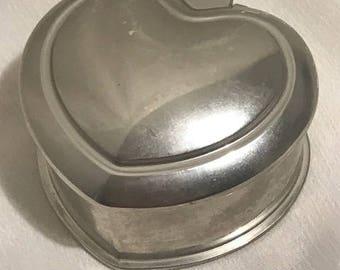 Silver Heart Heavy Jewelry Box with Black Velvet Lining