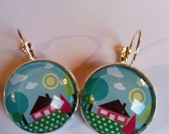 earring Stud Earrings cabochon multicoloured design original