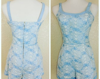 Beautiful Vintage Blue and White Eyelet Playsuit by Marshall Fields