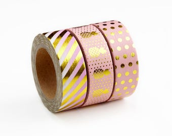 Foiled Washi Tape, Pastel Pink and Gold Stripes, Pineapples, Dots - Masking Tape with Foil for Crafts, Scrapbooking, Notebook, Journaling