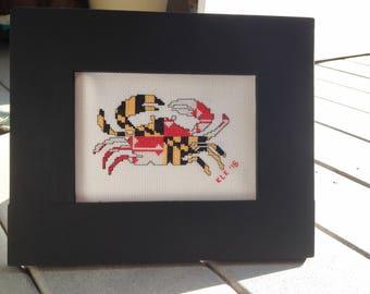 Cross Stitch Pattern - Maryland Flag Crab - Maryland Flag- Crab - Cross Stitch Chart - Home Decor - DIY - Embroidery Pattern - PDF - Modern
