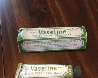 Antique Vaseline white petroleum jelly box and tube Chesebrough Company