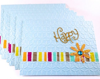 All-Occasion Handmade Cards, Happy Greeting Cards, Set Of Blank Cards To Give For Any Occasion, Light Blue Cards With Stripes, Casual Cards