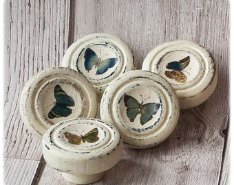Set of 6 painted and decoupaged door, drawer knobs, handles, pulls. Chalk painted and decoupaged with Victorian butterfly paintings