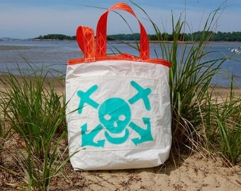 The Weekender - Made from Recycled Sails - Teal Skull and Bones
