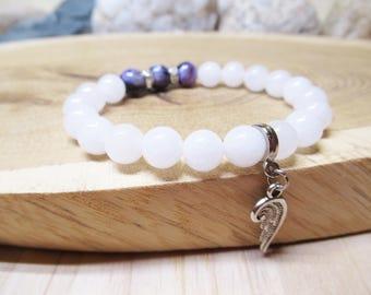 Angel Bracelet Charoite White Quartz Bracelet Beaded Gemstone Stretchy Bracelet Angel Wing Bracelet Angel Wing Sharm Spiritual Mala Bracelet