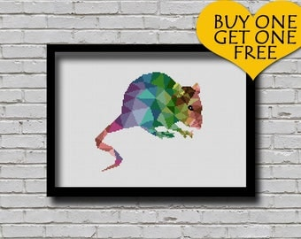 Cross Stitch Pattern Mouse Pet Pattern Modern Decor Rat Geometric E Pattern Polygonal Mice Cross Stitch Pattern Rainbow Color Animal