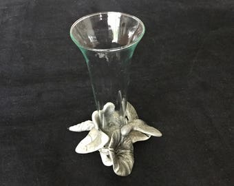 Seagull pewter bud vase with hummingbird,