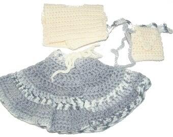 Hand crocheted bag + 32 cm cream and gray baby doll skirt set